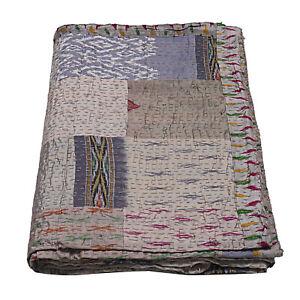 Indian Silk Blanket King Size Indian Patchwork Gray Silk Kantha Quilt Bedding
