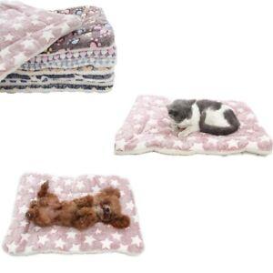 Dog Pets Cat Sleeping Bed Mats Soft Flannel Fleece Footprint Warm Blanket Cover