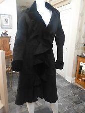 100% Black Shearling Long Coat w/Ruffle Front