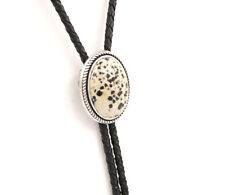 Hand Made Dalmatian Jasper Stone Western Cowboy Leather Bolo Neck Tie