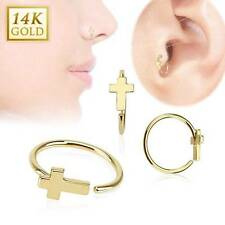 """14KT Solid Yellow Gold Nose Ring Hoop 5/16"""" 7.9mm Cross Daith Ear Cartilage 20G"""