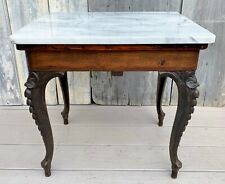 Antique Victorian Briggs Piano Bench Stool Cast Iron Legs Marble Top Table 1868
