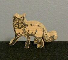 """Wooden Miniature Fox Cut Out Craft Figurine (2.5"""" x 1.75"""") Ink Stamp Look Front"""