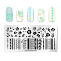 NICOLE DIARY Rectangle Nail Stamping Plates Rose Butterfly Stamp Template 088