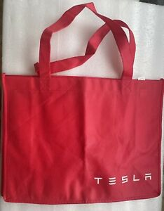 Tesla cotton tote bag from 2014, red, unused