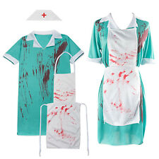 Ladies Bloody Zombie Nurse Halloween Horror Fancy Dress Costume Outfit