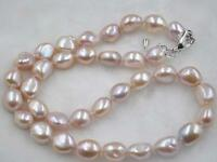 Free shipping Baroque 9-10mm natural lavender pearl necklace