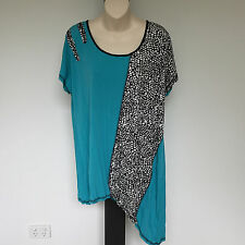 'TS-TAKING SHAPE' BNWT SIZE 'XXS' (12) AQUA, BLACK & WHITE CRINKLE TOP