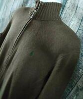 Polo Ralph Lauren Mens Full Zip Sweater Shirt Sz L Brown 100% Cotton Pockets L/S