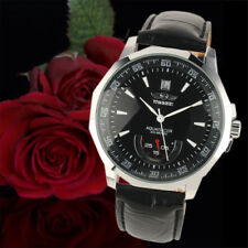 Automatic Mechanical Men's Wrist Watch Black Leather White Hands Silver Case Man