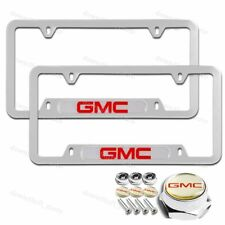 For 2PCS GMC Silver License Plate Frame Stainless Steel Metal W/ Cap Bolt Screws