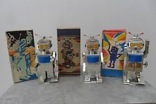 Rare Group Chrome Mechanical Space Robot Clockwork Made Rússia 1960's Box