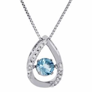 .925 Sterling Silver Created Topaz & Dancing Diamond Pendant w/ Chain 0.67 Ct.