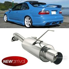 Fit 92-00 Civic 2/4DR Stainless Steel Bolt On Axle Back Exhaust Muffler Silencer