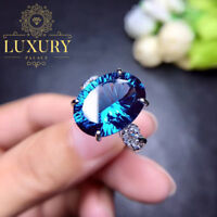 Natural Blue Topaz 10 Carat Fire Effect 925 Sterling Silver Women Rings