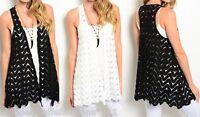 Black or White Chevron Lace Sleeveless Vest Cover-Up Top S M L