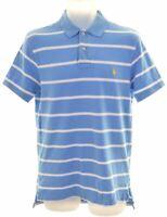 POLO RALPH LAUREN Mens Polo Shirt Medium Blue Striped Cotton Custom Fit  DT15