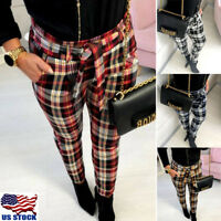 Women's High Waist Plaid Check Casual Trousers Ladies Slim Fit Skinny Long Pants