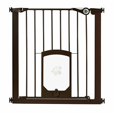 North States 5264S Petgate Passage 30 to 38 Inch Pet Gate with Door Flap, Bronze