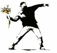"""POP ART, BANKSY, """"FLOWER THROWER"""" 2 METER X 2 METER !!! HANDGEMALT AUF LEINWAND"""