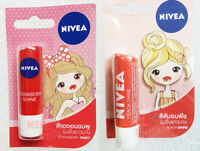 2 x Nivea Lips Balm Care Fruity Shine 8-hour Moisture Strawberry + Peach 4.8g.