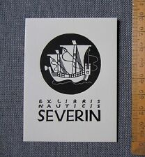 EX LIBRIS Bookplate 1944 Mark SEVERIN 71 Nauticis Japanese junk Jonque Japon
