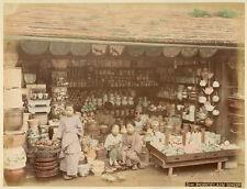 Photo Albuminé Japon Japan Japanese Porcelain Shop Vers 1880