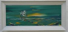 George R. Deakins (1911-1982)  Oil on board 'Three Masted Ship Sailing at Night""