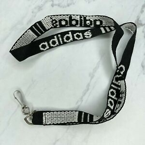 Adidas Black White Spell Out Lanyard Necklace Keychain Keyring