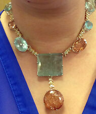Huge 337.44ct TGW aquamarine, Morganite & 2ct diamond 14k yellow gold necklace