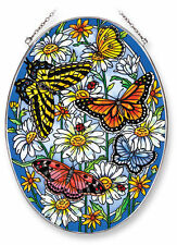 "AMIA STAINED GLASS SUNCATCHER 6.5"" X 9"" OVAL GARDEN PARTY BUTTERFLIES  #42216"