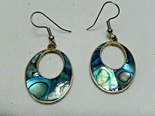 Vintage Abalone & Silver  Earrings Pieced Hangs 2 inch Mexican