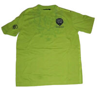 COOGI T-Shirt Mens XL Lime Green Embroidered Patch Casual V-Neck