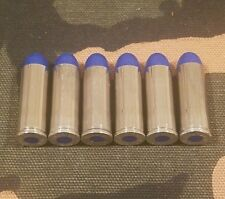 45 LONG COLT SNAP CAPS  SET OF 6, BLUE AND NICKEL, REAL WEIGHT!!! 45LC 45 COLT