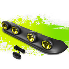 UNIVERSAL OFFROAD ROOF TOP LIGHT BAR+4X ROUND AMBER YELLOW FOG RALLY LAMP+SWITCH