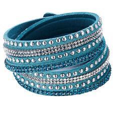 Crystal Cuff  Rhinestone Slake Stud Aqua Bracelet Swarovski Element