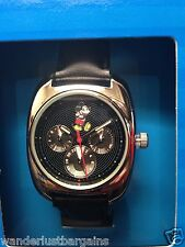 DISNEY Men's Black Watch MICKEY MOUSE Wristwatch Day Date Analog NEW NIB Mens