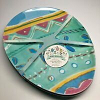 Easter Tableware Party Plates Set of 4 Melamine Easter Egg Shaped Plates
