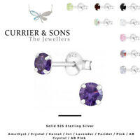 925 Sterling Silver Round Cubic Zirconia Stud Earrings Design 2 (4mm)