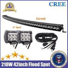 "Curved 42inch LED Light Bar 210W CREE Slim Single Row Lamp RZR + Wiring + 4"" Pod"