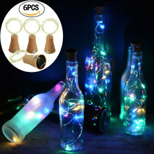 6X Led Solar Powered Cork Bottle Wire Copper String Light Party Xmas Tree Decor