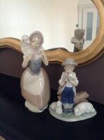 LLADRO Nao Little Girl & Boy With Lambs Figure