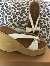 Cathy Jean White Leather Wedge Sandals Women's Size 8M New In Box