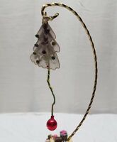 Vintage Antique Christmas Feather Tree Ornament Silk Wire Glass Bead Star Ball