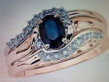 Sz 6 Sz 7 Sz 8 Sz 9 Sz 10 Sapphire & Diamond Wedding Engagement Ring Set Y Sz 5