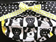 NEW - LULIBOOS DESIGNER DOG PANTIES BRITCHES DIAPER BLK/WHT DOGS & CATS W/YELLO