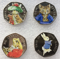 2017 Beatrix Potter 50p Full Set + Coloured Decal Easter Hunt Bunny Peter Rabbit
