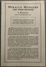 Harry Houdini - Original Prospectus For Miracle Mongers And Their Methods - 1920