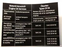 BMW E3 Aufkleber Sticker Ölwechsel Ölsorten BMW 2500 - 3,3 Li (E3)