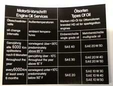 BMW E24 Aufkleber Sticker Ölwechsel Ölsorten  BMW 628 CSI - M635 CSI (E24)